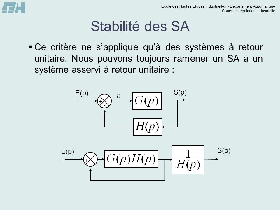 Stabilité des SA