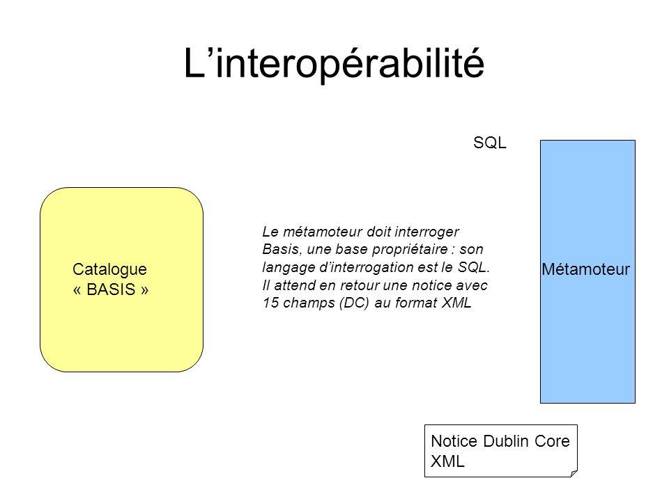 L'interopérabilité SQL Catalogue « BASIS » Métamoteur