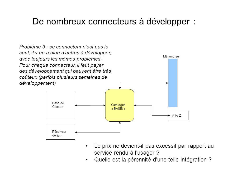 De nombreux connecteurs à développer :