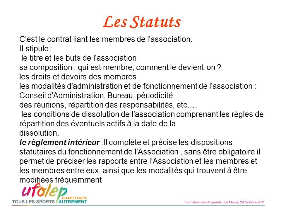 Les Statuts C est le contrat liant les membres de l association.