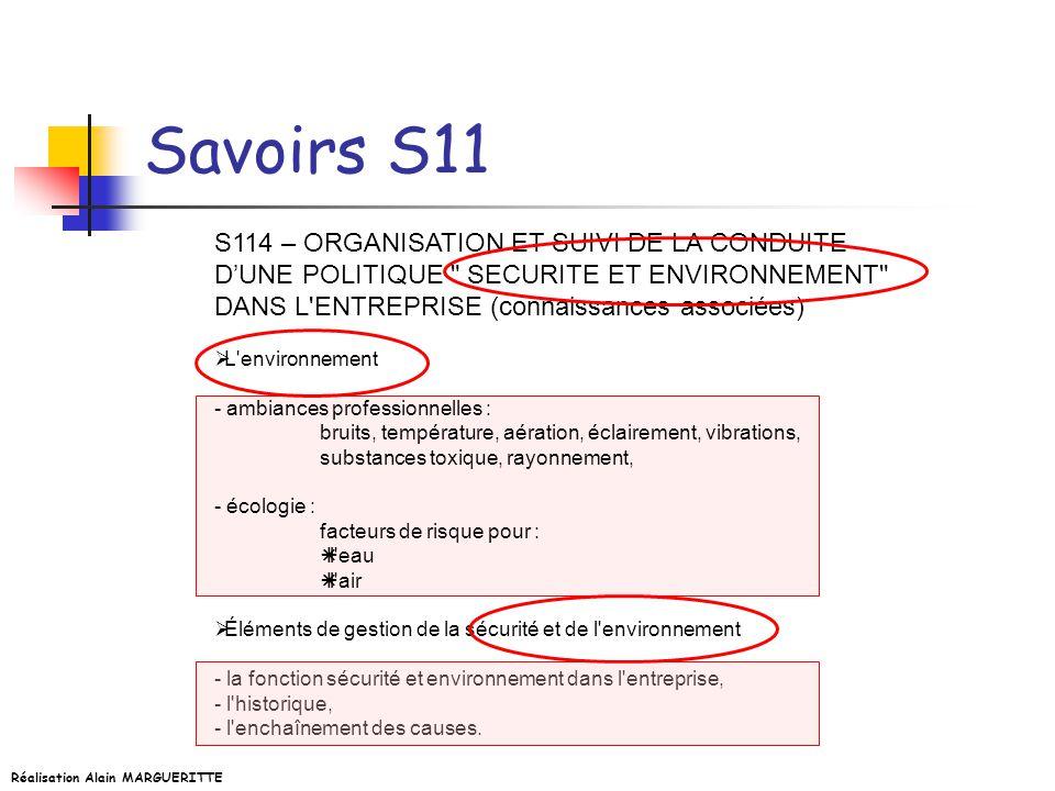 Savoirs S11 S114 – ORGANISATION ET SUIVI DE LA CONDUITE D'UNE POLITIQUE SECURITE ET ENVIRONNEMENT DANS L ENTREPRISE (connaissances associées)