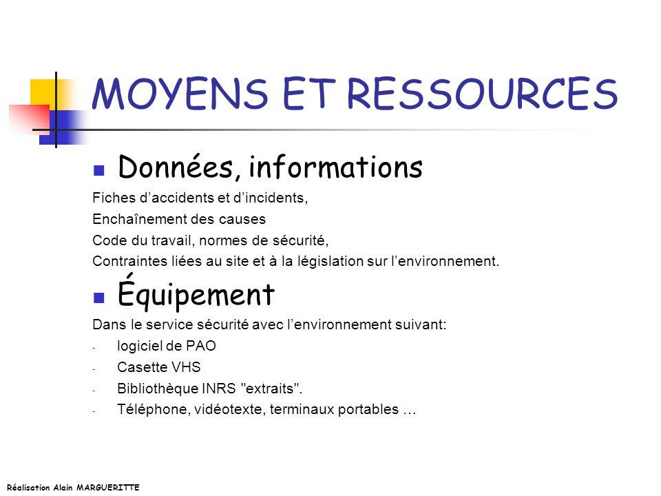 MOYENS ET RESSOURCES Données, informations Équipement