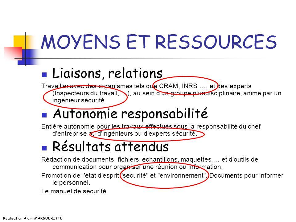 MOYENS ET RESSOURCES Liaisons, relations Autonomie responsabilité