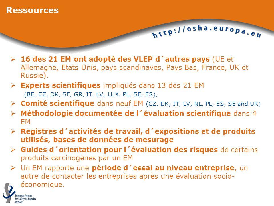 Ressources16 des 21 EM ont adopté des VLEP d´autres pays (UE et Allemagne, Etats Unis, pays scandinaves, Pays Bas, France, UK et Russie).
