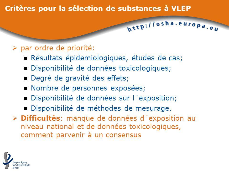 Critères pour la sélection de substances à VLEP