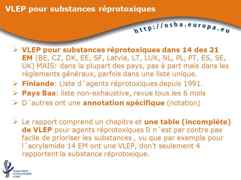 VLEP pour substances réprotoxiques