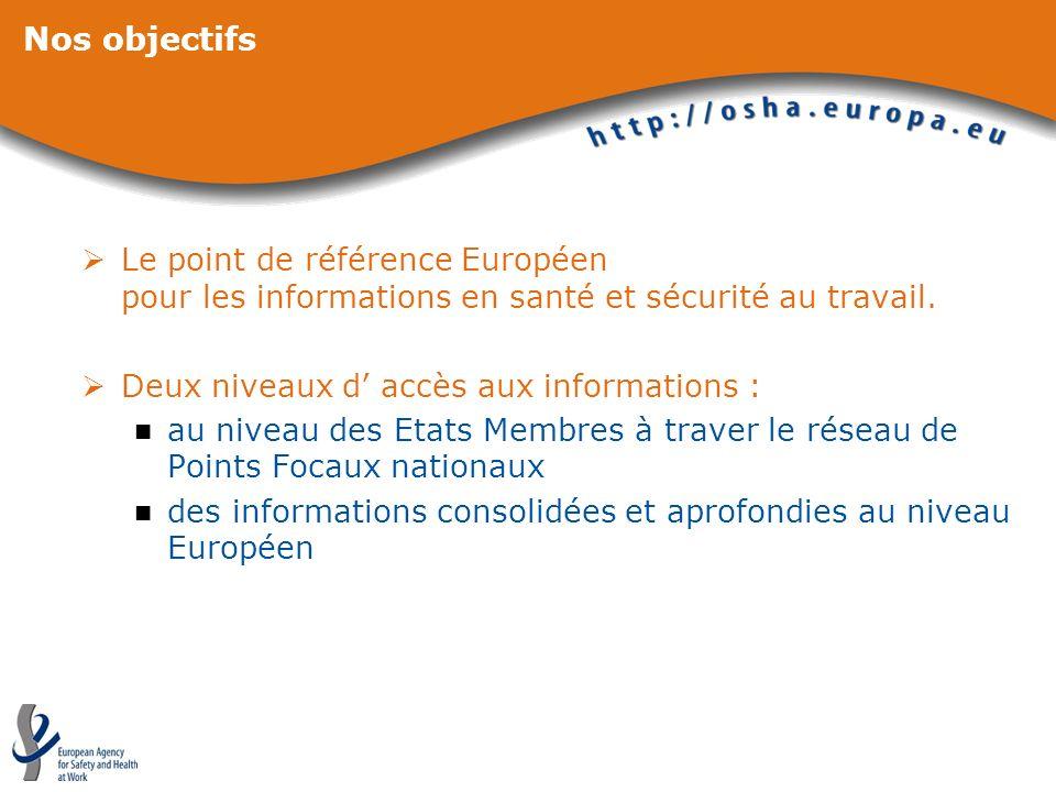 Nos objectifs Le point de référence Européen pour les informations en santé et sécurité au travail.