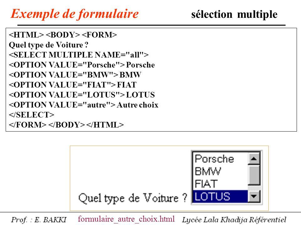 Exemple de formulaire sélection multiple