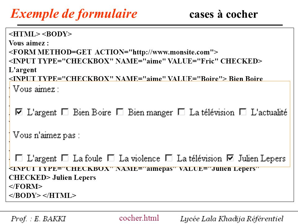 Exemple de formulaire cases à cocher