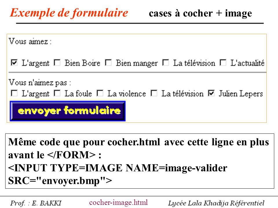 Exemple de formulaire cases à cocher + image