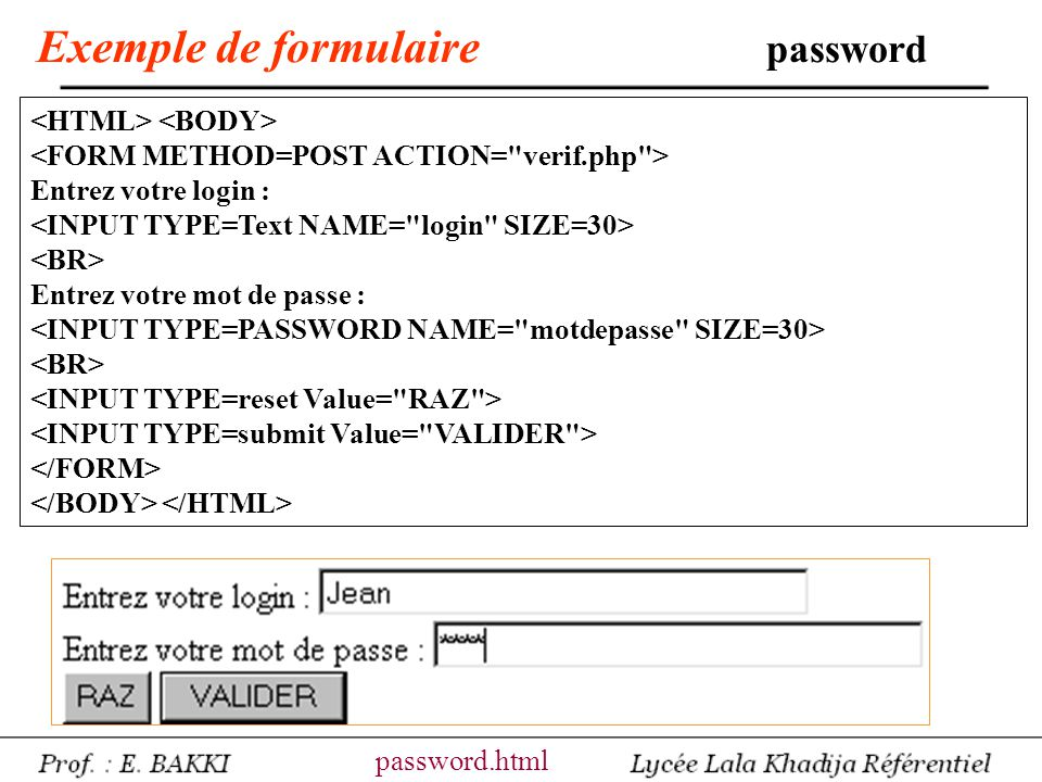 Exemple de formulaire password
