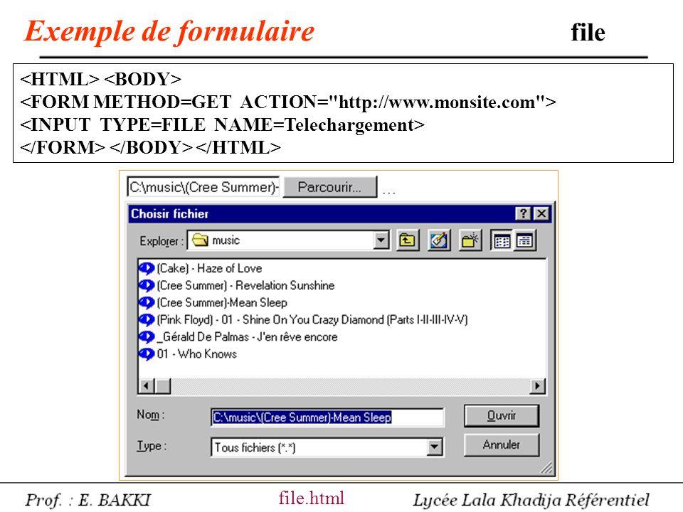 Exemple de formulaire file