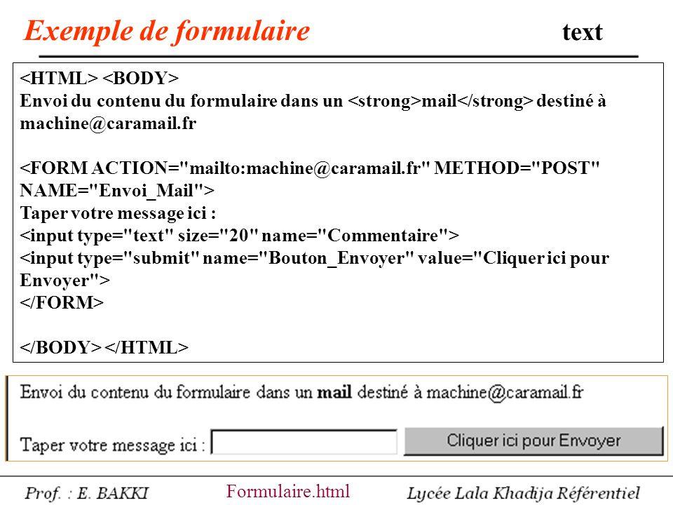 Exemple de formulaire text