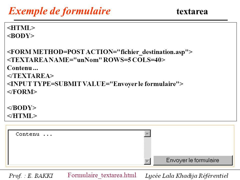 Exemple de formulaire textarea