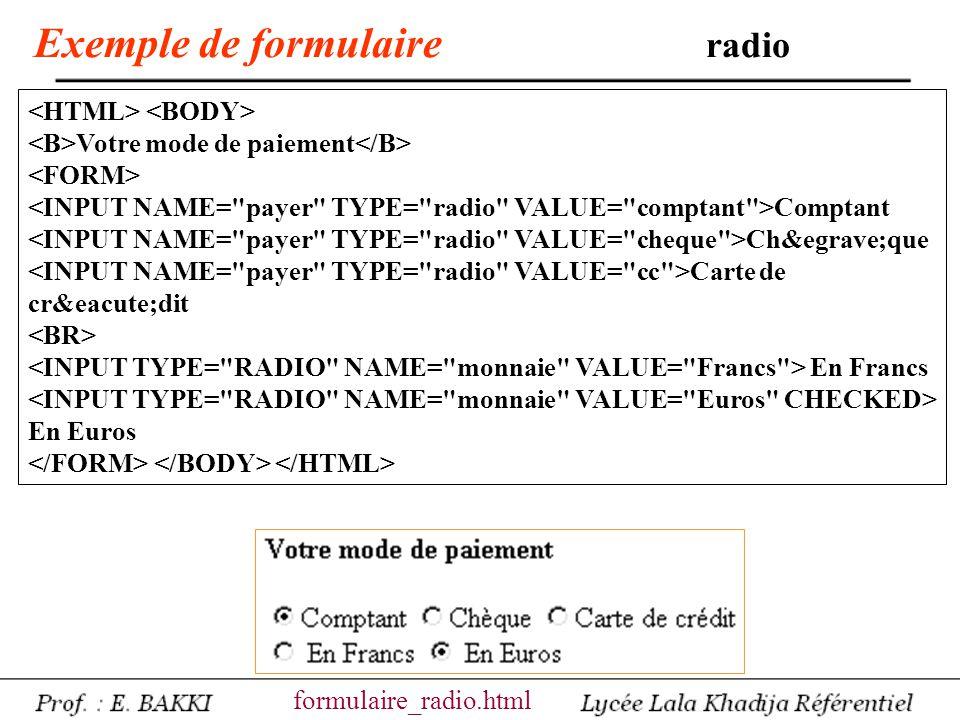 Exemple de formulaire radio