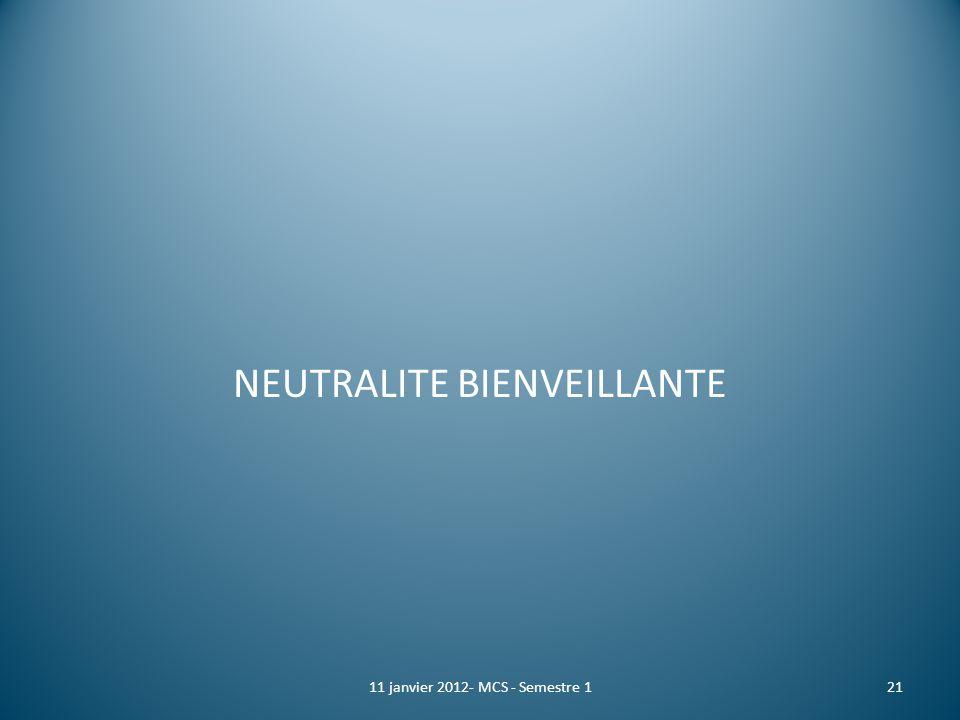 NEUTRALITE BIENVEILLANTE