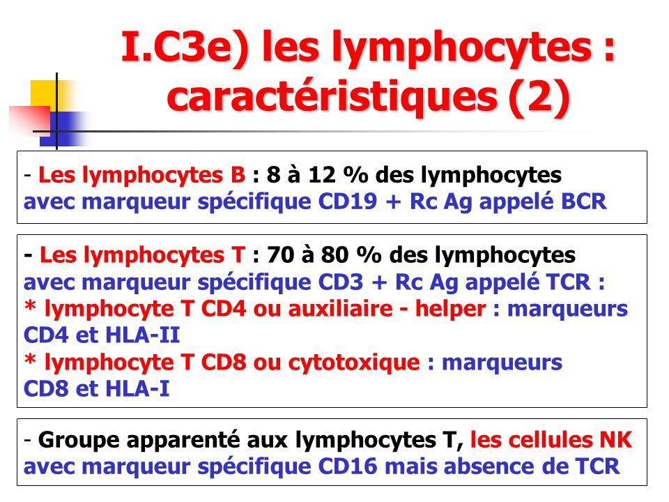 I.C3e) les lymphocytes : caractéristiques (2)