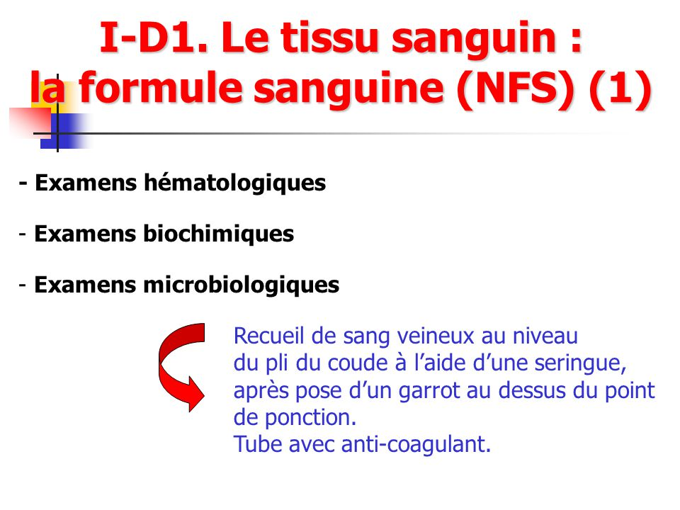 I-D1. Le tissu sanguin : la formule sanguine (NFS) (1)
