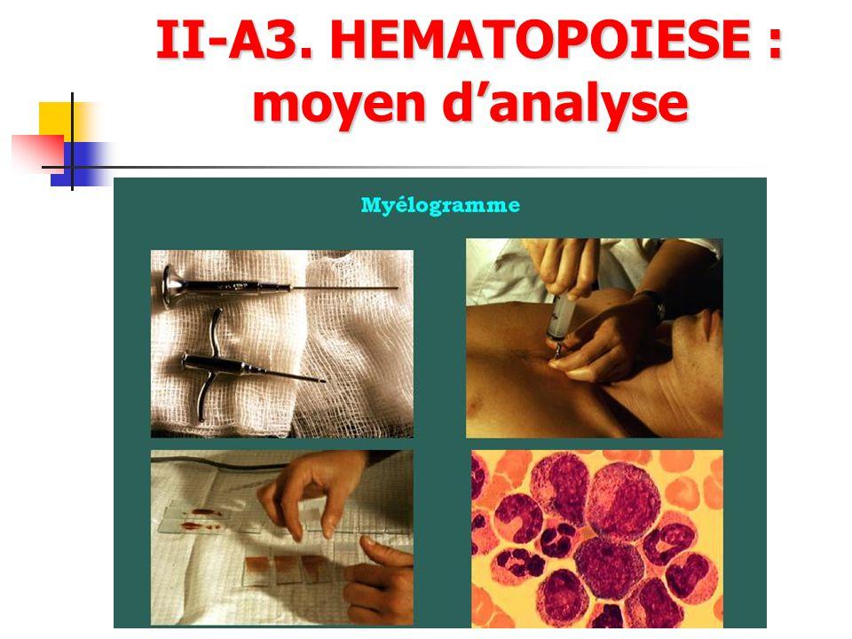 II-A3. HEMATOPOIESE : moyen d'analyse
