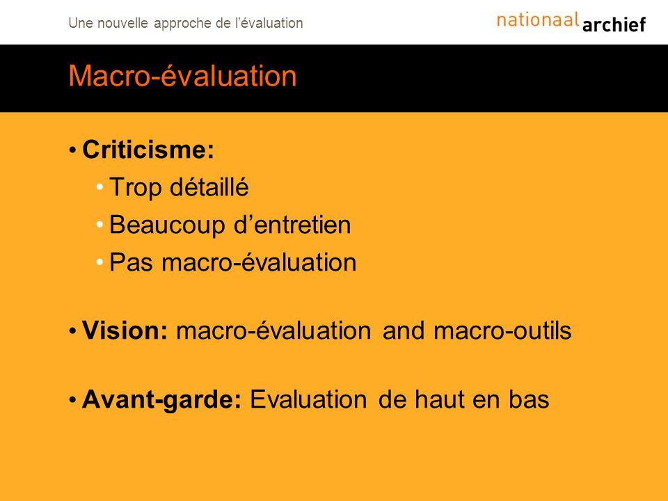 Macro-évaluation Criticisme: Trop détaillé Beaucoup d'entretien