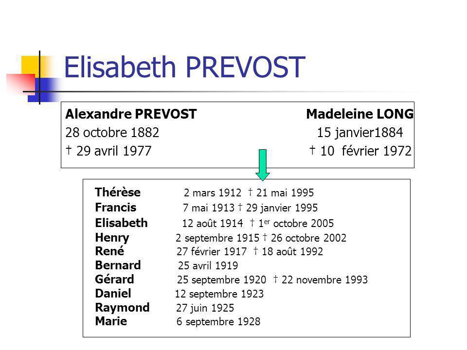 Elisabeth PREVOST Alexandre PREVOST Madeleine LONG