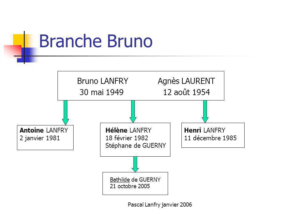 Branche Bruno Bruno LANFRY Agnès LAURENT 30 mai 1949 12 août 1954