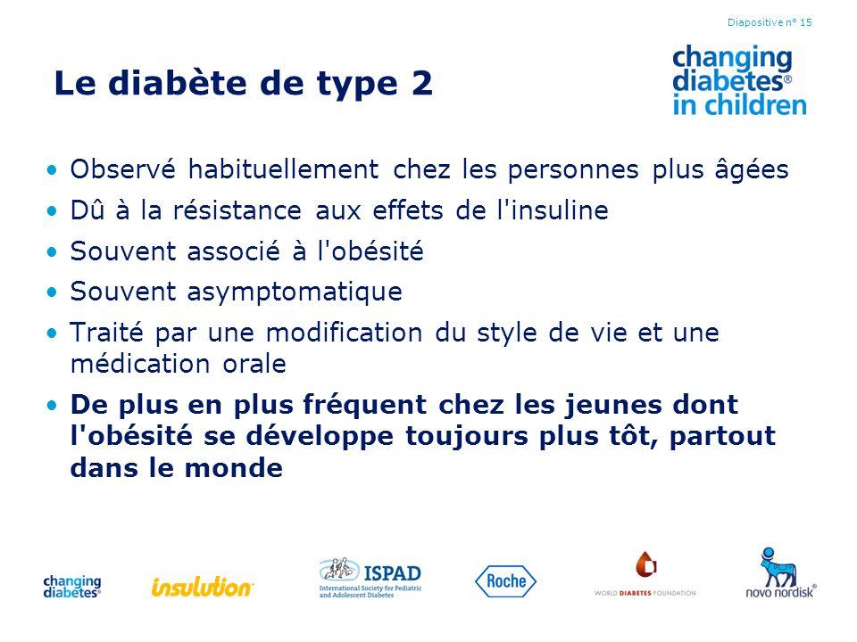 Le diabète de type 2 Observé habituellement chez les personnes plus âgées. Dû à la résistance aux effets de l insuline.