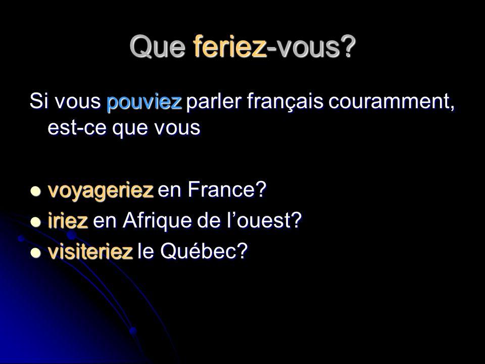 Que feriez-vous Si vous pouviez parler français couramment, est-ce que vous. voyageriez en France