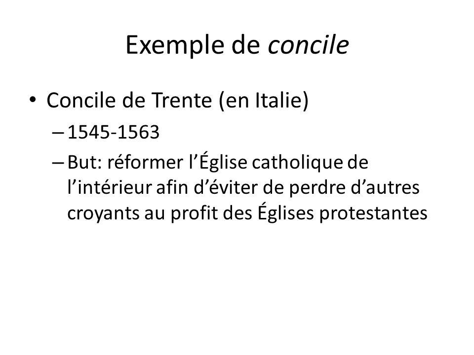 Exemple de concile Concile de Trente (en Italie) 1545-1563