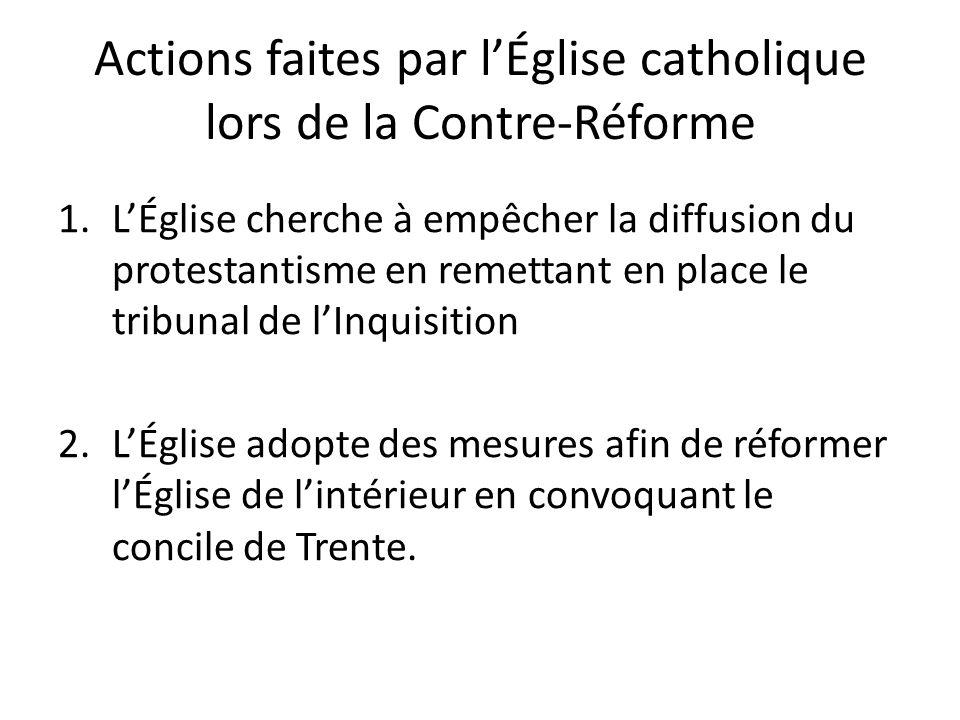 Actions faites par l'Église catholique lors de la Contre-Réforme