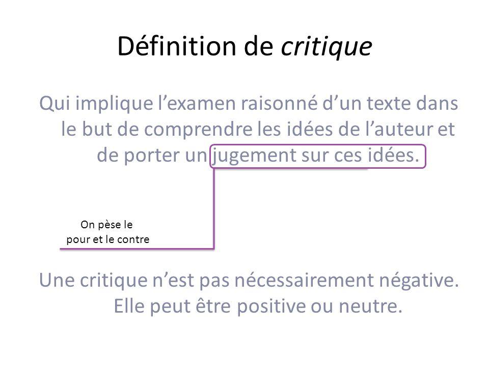 Définition de critique