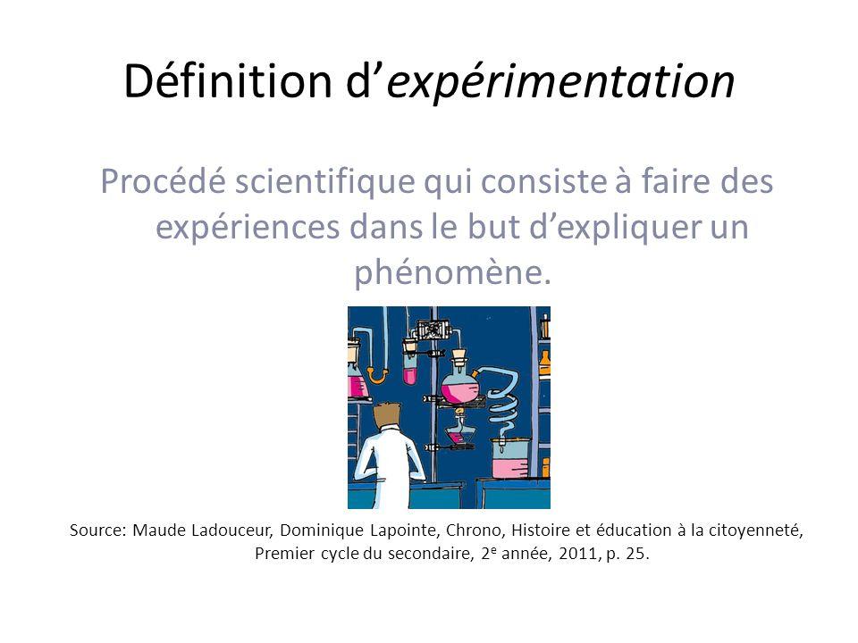 Définition d'expérimentation