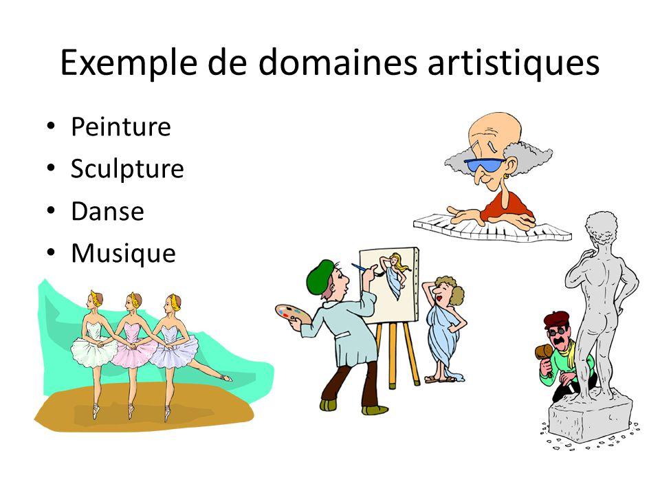 Exemple de domaines artistiques
