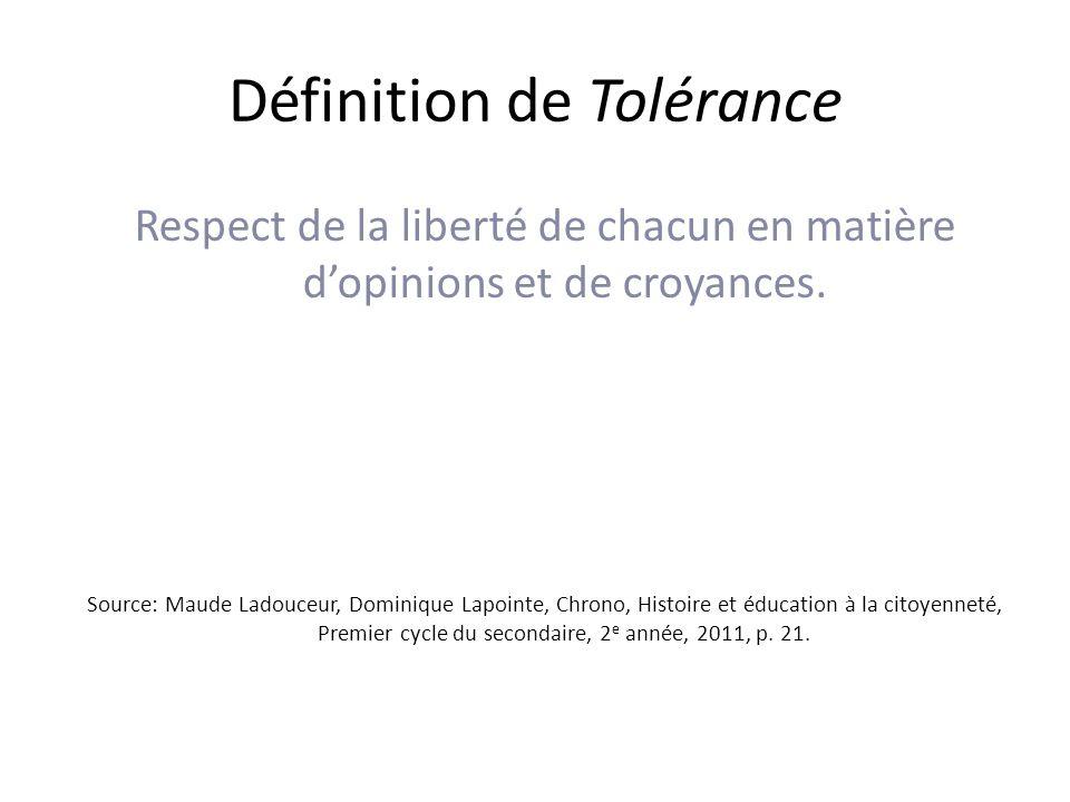Définition de Tolérance