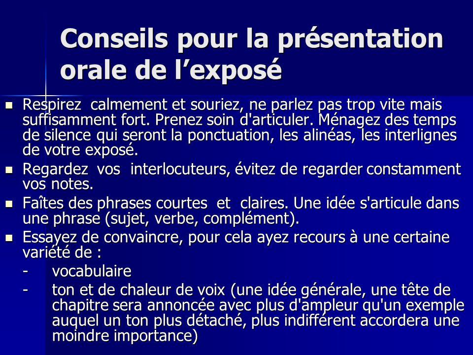 Conseils pour la présentation orale de l'exposé
