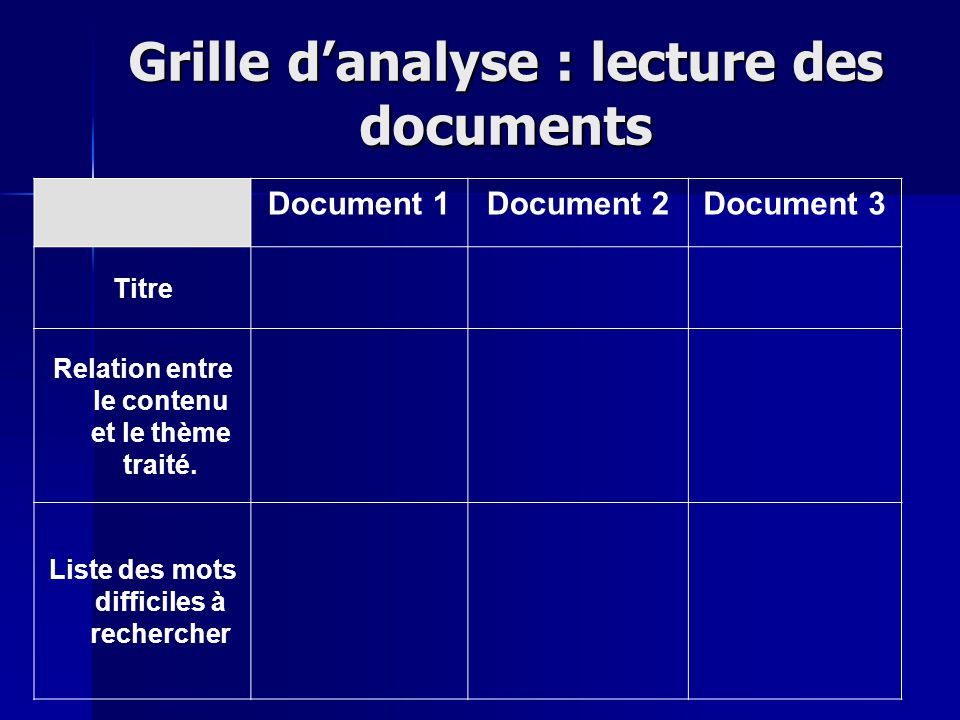 Grille d'analyse : lecture des documents