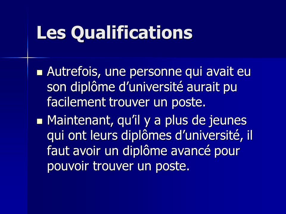Les Qualifications Autrefois, une personne qui avait eu son diplôme d'université aurait pu facilement trouver un poste.