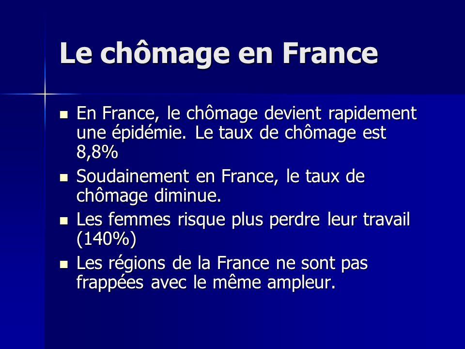 Le chômage en France En France, le chômage devient rapidement une épidémie. Le taux de chômage est 8,8%