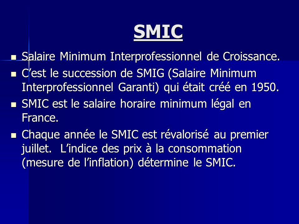 SMIC Salaire Minimum Interprofessionnel de Croissance.
