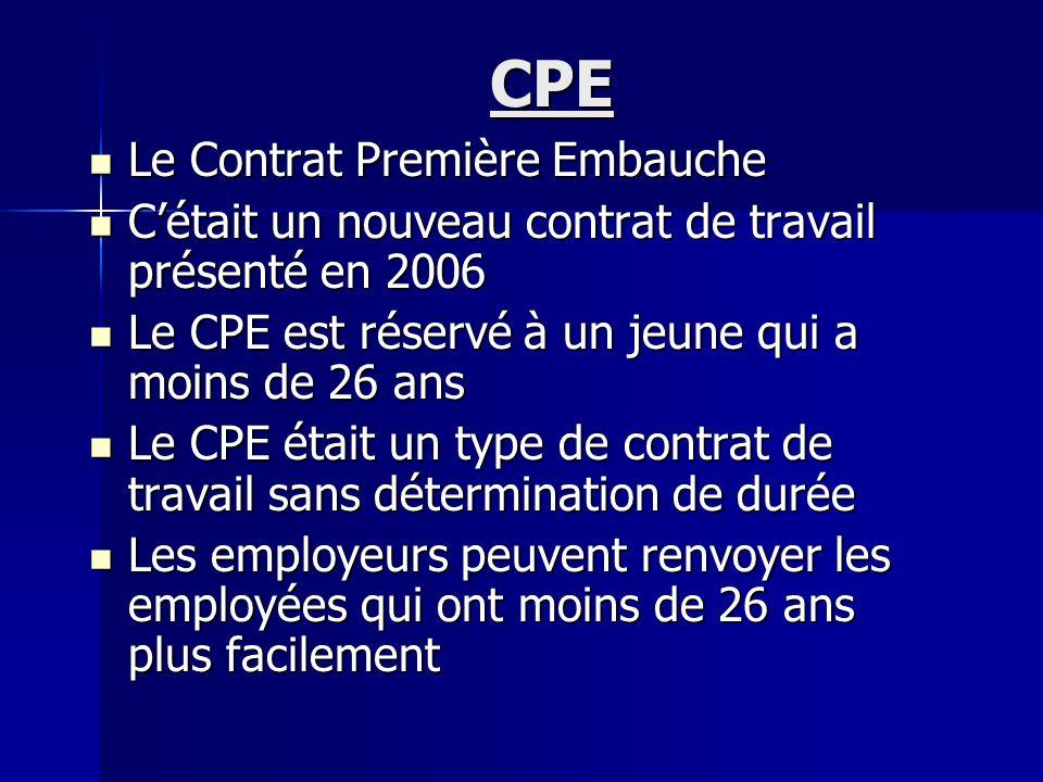 CPE Le Contrat Première Embauche