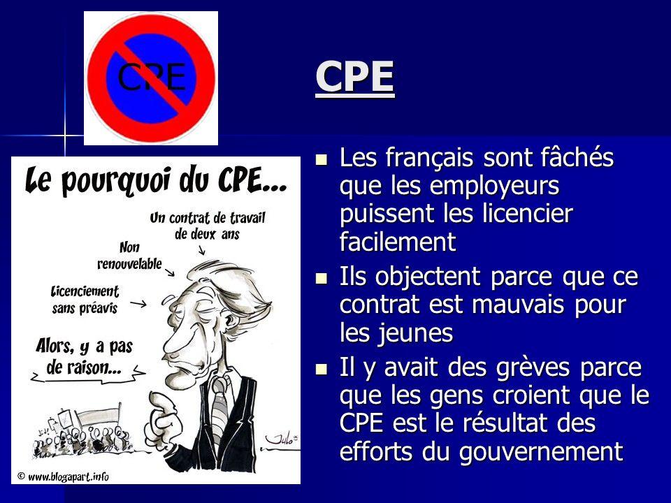 CPE Les français sont fâchés que les employeurs puissent les licencier facilement. Ils objectent parce que ce contrat est mauvais pour les jeunes.