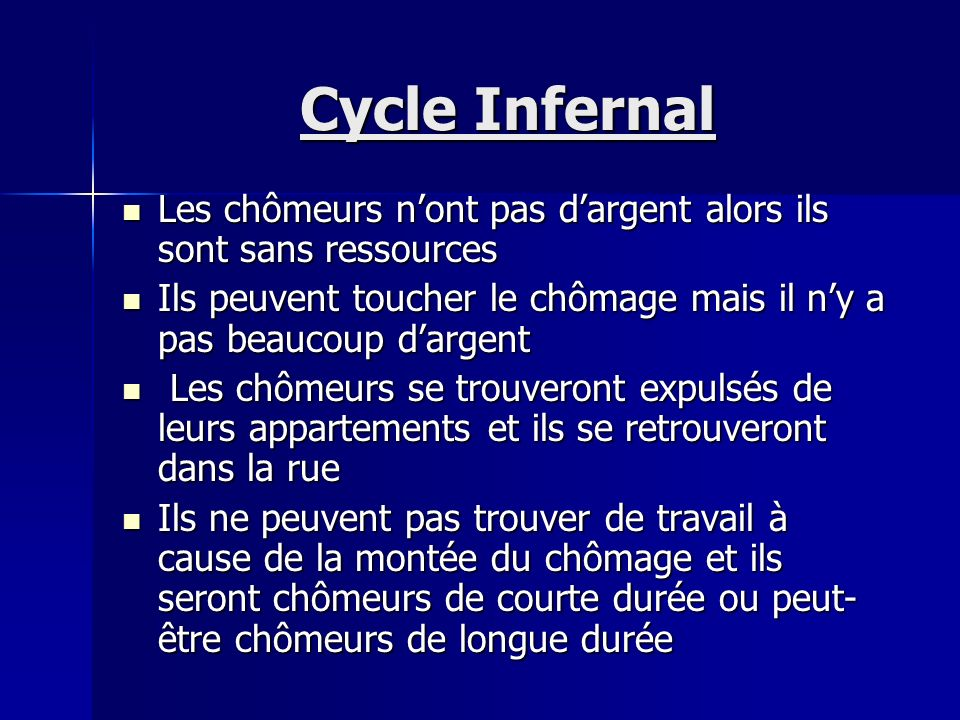Cycle Infernal Les chômeurs n'ont pas d'argent alors ils sont sans ressources. Ils peuvent toucher le chômage mais il n'y a pas beaucoup d'argent.