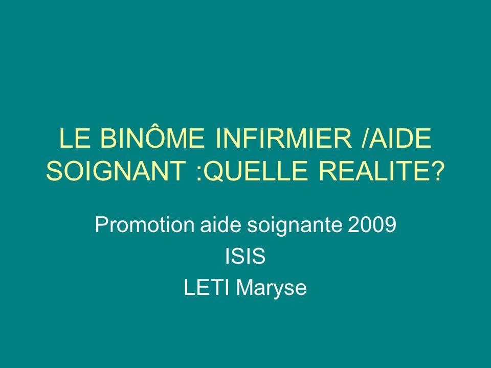 LE BINÔME INFIRMIER /AIDE SOIGNANT :QUELLE REALITE