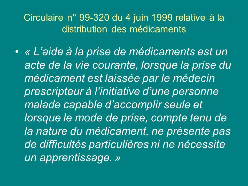 Circulaire n° 99-320 du 4 juin 1999 relative à la distribution des médicaments