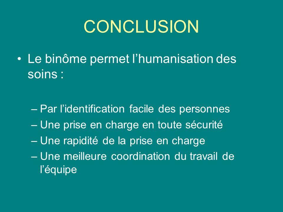 CONCLUSION Le binôme permet l'humanisation des soins :