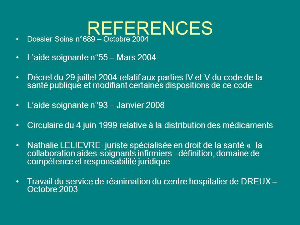 REFERENCES L'aide soignante n°55 – Mars 2004