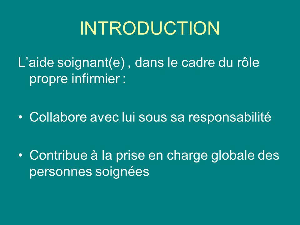 INTRODUCTION L'aide soignant(e) , dans le cadre du rôle propre infirmier : Collabore avec lui sous sa responsabilité.