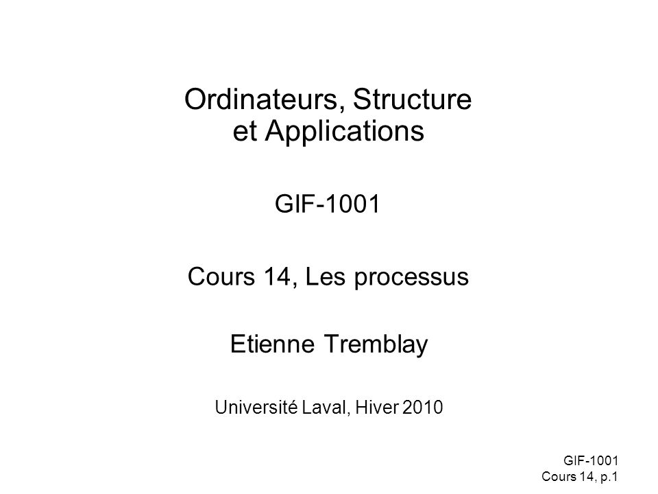 Ordinateurs, Structure et Applications