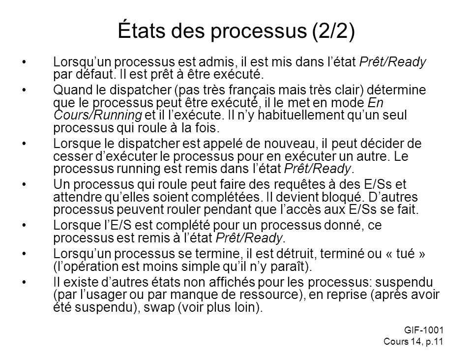 États des processus (2/2)