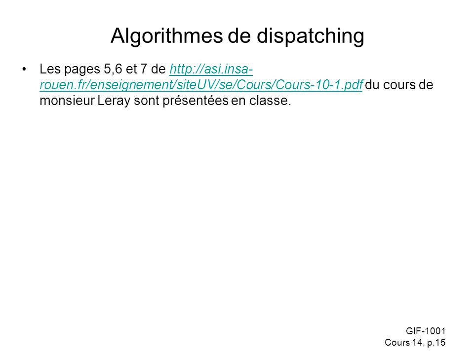 Algorithmes de dispatching